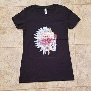Native American Chief Head Skull Graphic Tee Shirt